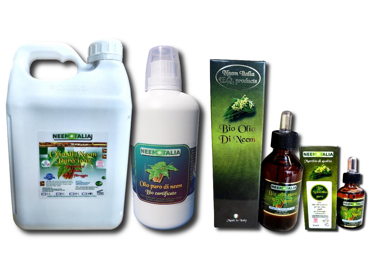Olio di neem in vari formati