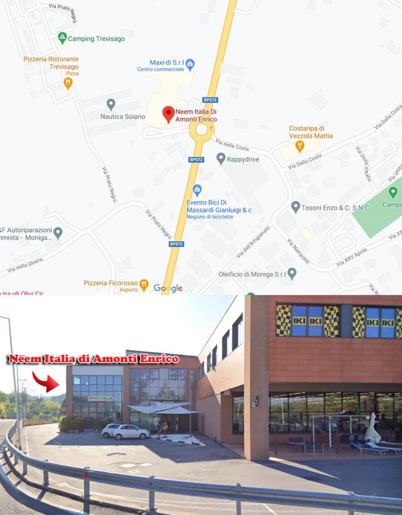 Contattaci - cartina per raggiungere Neem Italia di Amonti Enrico
